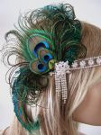 Peacock Feathers Crystal Flapper 1920's Art Deco Headband Cocktail Party Absinthe Fairy Headpiece Gatsby Downton Abbey